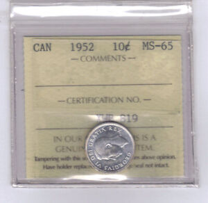 1952   CANADIAN 10 CENT SILVER   ICCS MS 65  NO SALES TAX
