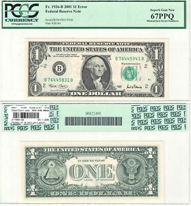 Click now to see the BUY IT NOW Price! 2001 $1 NEW YORK DISTRICT SERIAL NUMBER ERROR NOTE PCGS GEM NEW 67 PPQ
