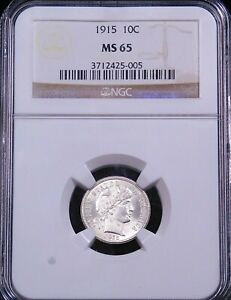 1915 BARBER DIME NGC MS65 BLAST WHITE SUPER FROSTY LUSTER PREMIUM QUALITY GC818