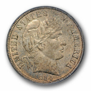 1914 10C BARBER DIME PCGS MS 65 UNCIRCULATED ORIGINAL TONED US TYPE COIN