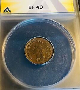 1875 INDIAN HEAD PENNY ANACS EF 40. PROBLEM FREE BEAUTIFUL CENT  RIGHT PRICE