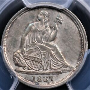 1837 SEATED HALF DIME PCGS MS 62 NO STARS SMALL DATE BEAUTIFUL AND LOOKS CHOICE