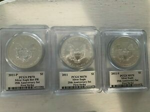 5 COIN SET  2011 SILVER EAGLE 25TH ANNIVERSARY FIRST STRIKE MERCANTI PCGS ALL 70