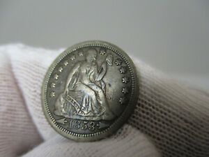 1853 U S SILVER DIME COIN WITH ARROWS TEN CENTS EXTRA FINE XF NICE TONED GREY