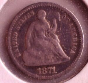 1871 US SEATED SILVER HALF DIME COIN