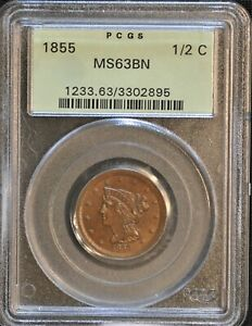 1855 BRAIDED HAIR HALF CENT. C 1 THE ONLY KNOWN DIES. RARITY 1. MS 63 BN  PCGS