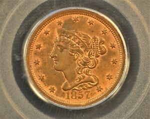 1857 BRAIDED HAIR HALF CENT. C 1 THE ONLY KNOWN DIES. RARITY 2 MS63 RB PCGS OGH