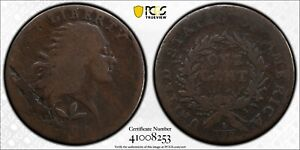 1793 FLOWING HAIR CENT. WREATH REVERSE. S 5. RARITY 4. VINE AND BARS  PCGS GOOD