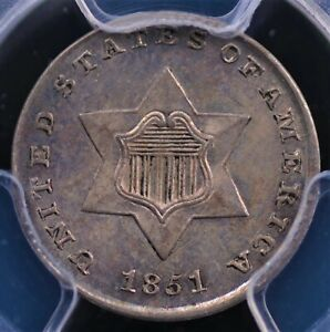 1851 THREE CENT SILVER PCGS MS 62 LUSTROUS WELL STRUCK AND COLORFULLY ORIGINAL