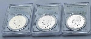 LOT OF 3  1976 S EISENHOWER PCGS PR69 SILVER  CLAD TYPE 1 CLAD TYPE 2 COINS
