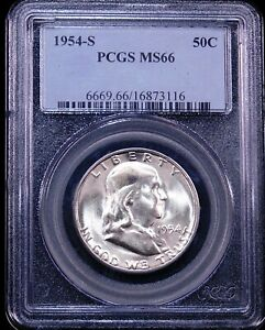 1954 S FRANKLIN HALF DOLLAR PCGS MS66 BLAST WHITE SUPERB LUSTER PQ GE148