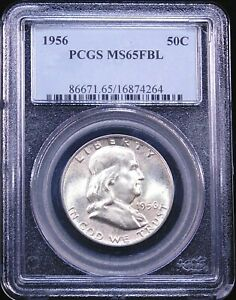 1956 FRANKLIN HALF DOLLAR PCGS MS65FBL WHITE FULL BELL LINES GOOD LUSTER GE150