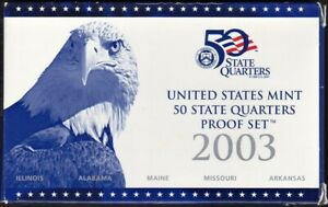 2003 S STATE QUARTERS PROOF SET IN ORIGINAL US MINT PACKAGING  5 PC