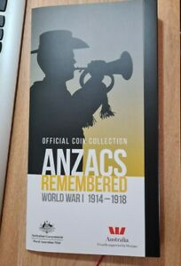 2015 20 CENTS COIN SET  ANZAC REMEMBERED WW1  FOLDER ALBUM NO COINS