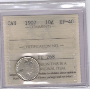 1907   CANADIAN 10 CENT SILVER   ICCS EF 40  NO SALES TAX