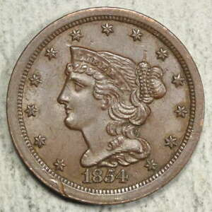 1854 BRAIDED HAIR HALF CENT UNCIRCULATED   DISCOUNTED HIGH GRADE TYPE   0413 01