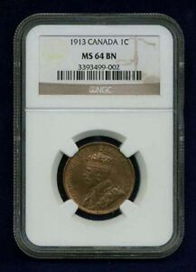 CANADA GEORGE V  1913 LARGE CENT CHOICE UNCIRCULATED  CERTIFIED NGC MS64 BN