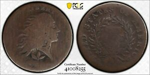 1793 FLOWING HAIR CENT. WREATH REVERSE. S 7. R6  VINE AND BARS EDGE. AG 3 PCGS