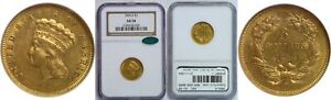 1856 S $3 GOLD COIN NGC AU 58 CAC