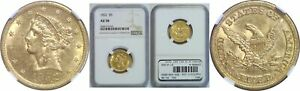 1852 $5 GOLD COIN NGC AU 58