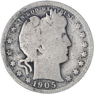 1905 O BARBER QUARTER 90  SILVER GOOD GD