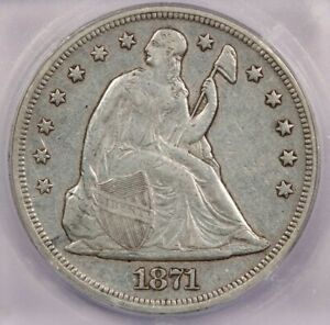 1871 P 1871 SEATED LIBERTY DOLLAR ICG EF40 XF40