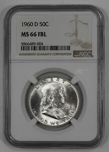 Click now to see the BUY IT NOW Price! 1960 D FRANKLIN HALF DOLLAR 50C NGC MS 66 FBL MINT STATE UNC   BLAST WHITE  004