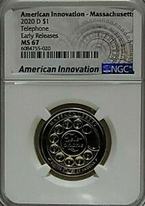 2020 D AMERICAN INNOVATION $1 MASSACHUSETTS TELEPHONE EARLY REL NGC MS67 TOP POP