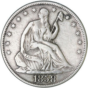1858 O SEATED LIBERTY HALF DIME 90  SILVER FINE FN  SEE PICS G528
