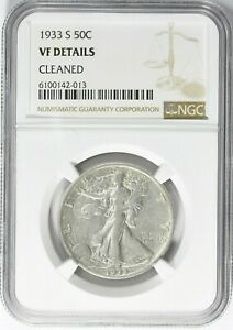 1933 S WALKING LIBERTY SILVER HALF DOLLAR 50C NGC VF DETAILS  CLEANED