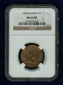 CANADA EDWARD VII 1906 LARGE CENT UNCIRCULATED  CERTIFIED NGC MS63 RB