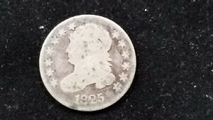 LOOK  1825 DIME 10 CENTS CAPPED BUST AG ORIGINAL TONING EARLY TYPE $2.86 SHIP.