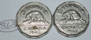 CANADA 1947 AND 1947 MAPLE LEAF 5 CENTS GEORGE VI CANADIAN NICKELS LOT 863