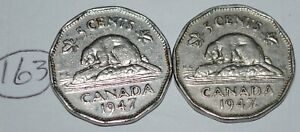 CANADA 1947 AND 1947 MAPLE LEAF 5 CENTS GEORGE VI CANADIAN NICKELS LOT 163