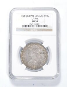 AU58 1820 CAPPED BUST HALF DOLLAR   LG DATE   SQUARE 2   O 108   NGC  0848