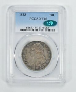 XF45 1833 CAC CAPPED BUST HALF DOLLAR   PCGS GRADED  5278