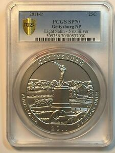 Click now to see the BUY IT NOW Price! 2011 P AMERICA T BEA  ATB 5 OZ SILVER GETTYSBURG NP SP70 LIGHT SATIN GOLD SHIELD