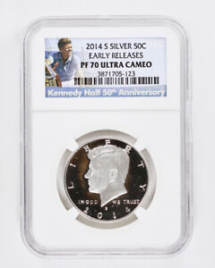 2014 S KENNEDY SILVER PROOF HALF DOLLAR NGC PF70 ULTRA CAMEO EARLY RELEASES 50C