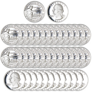 Click now to see the BUY IT NOW Price! 2021 S WASHINGTON CROSSING THE DELAWARE QUARTER ROLL 99.9  SILVER PROOF 40 COINS