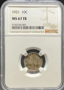 Click now to see the BUY IT NOW Price! 1921 MERCURY DIME MS67FB NGC  PA5750734001