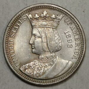 1893 ISABELLA COMMEMORATIVE QUARTER CHOICE ALMOST UNCIRCULATED  0617 98