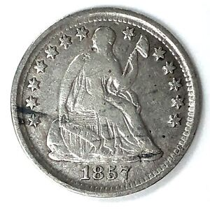 1857 SEATED LIBERTY SILVER HALF DIME  TYPE 3   STARS WITH DRAPERY