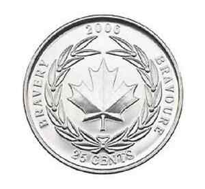 2006 UNCIRCULATED CANADIAN MEDAL OF BRAVERY QUARTER $0.25