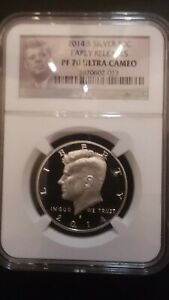 2014 S SILVER KENNEDY HALF NGC PF70 ER ULTRA CAMEO  UCAM     PERFECT PROOF