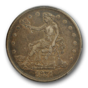 1874 T$1 TRADE DOLLAR PCGS VF 35 FINE TO EXTRA FINE CAC APPROVED TOUGH D