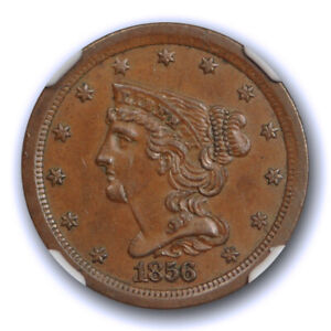 1856 BRAIDED HAIR HALF CENT NGC MS 61 BN UNCIRCULATED C 1 COHEN ONE BETTER DATE