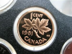 1981 UNC FROSTED PROOF CANADIAN PENNY ONE CENT   1 CENT COIN  KEY DATE