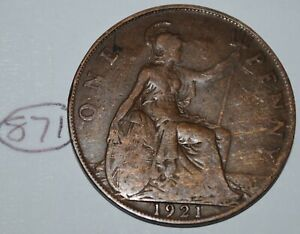 1921 GREAT BRITAIN 1 PENNY GEORGE V UK COIN KM 810 LOT 871