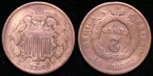 1864  TWO CENT PIECE   INVERTED REVERSE MINT ERROR