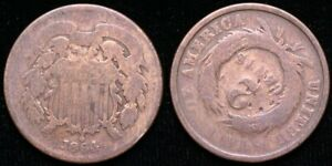 1864  TWO CENT PIECE   ROTATED REVERSE MINT ERROR